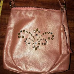 Isabella Fiore metallic pink purse with studs